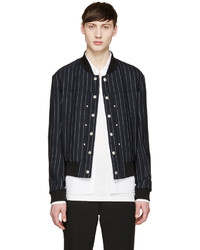 Navy Vertical Striped Wool Bomber Jacket