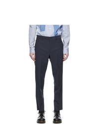 Comme des Garcons Homme Deux Blue Wool Twisted Stripe Trousers