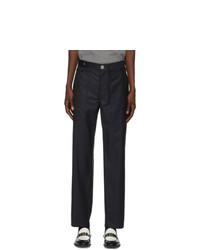 Lanvin Navy Wool Pinstripe Trousers