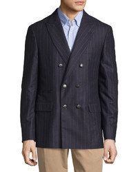 Navy Vertical Striped Wool Double Breasted Blazer