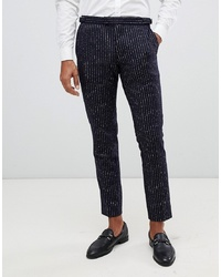 MOSS BROS Moss London Premium Skinny Suit Trousers In 100% Wool Boucle Stripe
