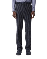 Burberry Pinstripe Straight Leg Wool Trousers