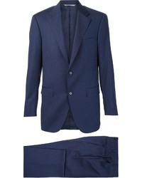 Navy Vertical Striped Wool Suit