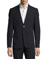 Versace Collection Slim Fit Pinstripe Two Piece Wool Suit Navy