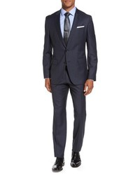 BOSS Hugegenius Trim Fit Stripe Wool Suit