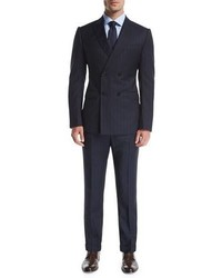 Armani Collezioni Wide Stripe Double Breasted Wool Two Piece Suit