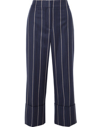 Oscar de la Renta Cropped Striped Wool Blend Wide Leg Pants