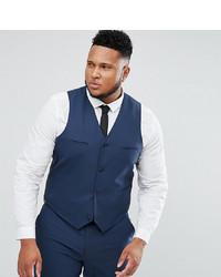 ASOS DESIGN Asos Plus Slim Suit Waistcoat In Mid Blue