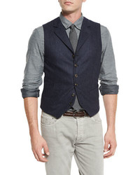 Brunello Cucinelli Chalk Stripe Wool Waistcoat