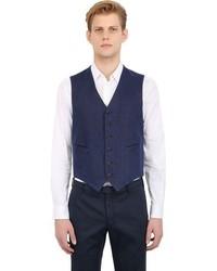Boglioli Cotton Linen Blend Basketweave Vest