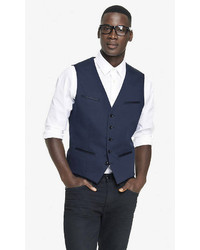 Express Navy Cotton Sateen Vest