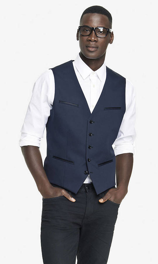 Express Navy Cotton Sateen Vest Where To Buy Amp How To Wear