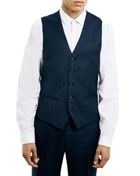 Topman Navy Textured Wool Blend Vest