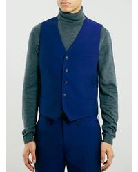 Topman Blue Skinny Suit Vest