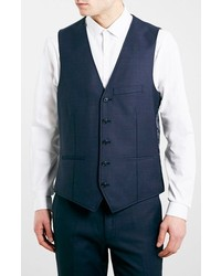 Topman Navy Skinny Fit Suit Vest
