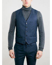 Topman Navy Textured Suit Vest