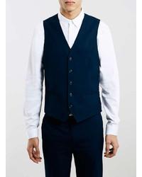 Topman Navy Textured Ultra Skinny Fit Vest