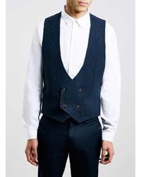 Topman Navy Wool Blend Textured Waistcoat