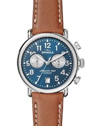 Shinola 41mm Runwell Chronograph Watch Midnight Bluetan