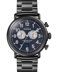 Shinola 47mm Runwell Chronograph Watch Navy