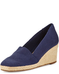 Pamela canvas wedge pump navy medium 747847