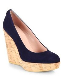 Stuart Weitzman Suede Cork Wedge Pumps