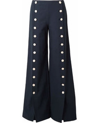 Tory Burch Carrie Button Embellished Crepe Wide Leg Pants Navy