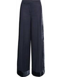 J.Crew Laney Velvet Trimmed Wool Wide Leg Pants Navy