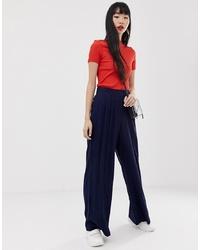 ASOS DESIGN Linen Touch Wide Leg Trousers