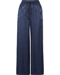 Elizabeth and James Whittier Satin Jacquard Wide Leg Pants Navy