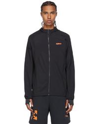 Off-White Black Orange Active Logo Stretch Zip Up Running Jacket