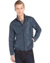 Zegna Blue And Black Nylon Zip Up Windbreaker