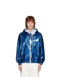 Givenchy Blue Varnished Windbreaker Jacket