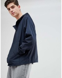 Asos Design Overhead Windbreaker In Navy