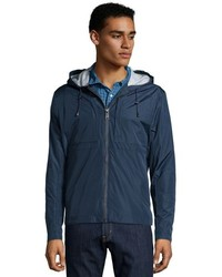 Andrew Marc Marc New York Navy Blue Water Resistant Brendan Zip Up Hooded Rain Coat
