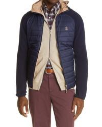 Brunello Cucinelli Mixed Media Hooded Jacket