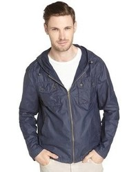 Just A Cheap Shirt Navy Cotton Blend Hooded Jacket