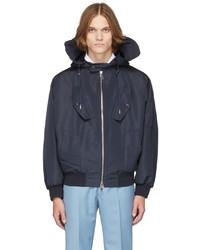Alexander McQueen Navy Hooded Windbreaker Jacket