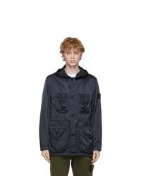 Stone Island Navy Nylon Raso Tc Coat