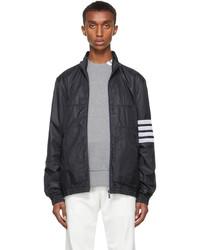 Thom Browne Navy Oversized 4 Bar Zip Up Jacket