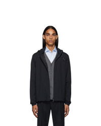 Z Zegna Navy Zip Away Hooded Jacket