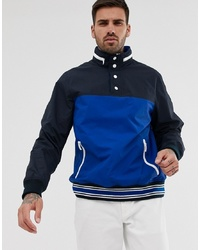 Original Penguin Overhead Two Tone Nylon Jacket In Blue And Navy