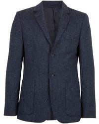 Topman Blue Marl Herringbone Tweed Suit Jacket