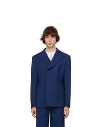 Comme Des Garcons Homme Plus Blue Tropical Wool Blazer