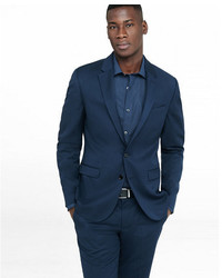 Express Extra Slim Navy Wool Blend Twill Suit Jacket