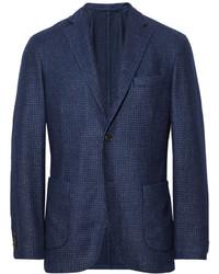 Incotex Montedoro Unstructured Houndstooth Cashmere Blend Blazer