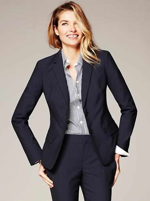 Banana Republic Navy Lightweight Wool Two Button Suit Blazer ...