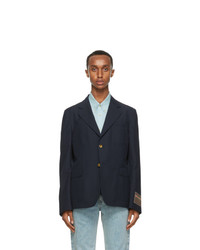 Gucci Navy Mohair And Wool Gauze Blazer