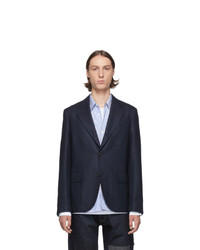 Junya Watanabe Navy Silk And Wool Blazer