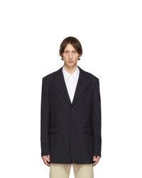 Raf Simons Navy Single Breasted Fitted Blazer